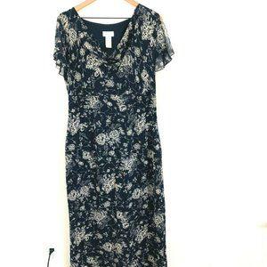Liz Claiborne Navy Blue Floral Silk Maxi Dress
